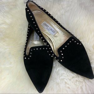 Jimmy Choo Black Studded Flats Size 38 1/2